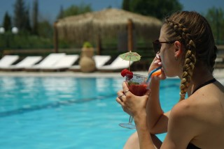 pool corfu spiti nikos enjoy drink